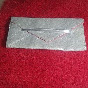 Victoria's secret silver sparkles clutch purse.